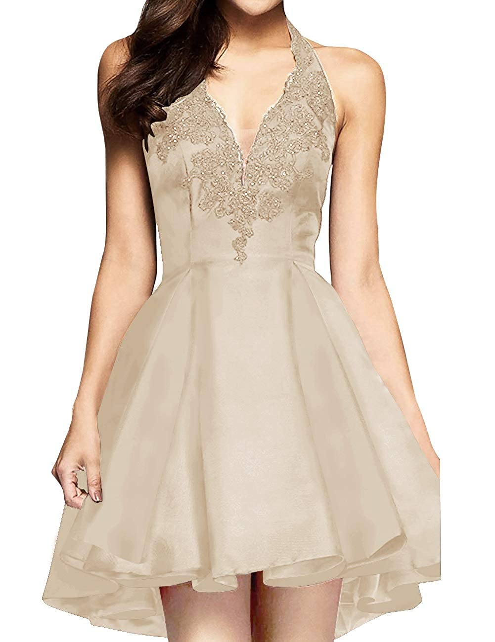 Champagne MorySong Women's Applique Lace Satin Halter Neck Short Homecoming Cocktail Dress
