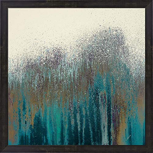 Teal Woods by Roberto Gonzalez Framed Art Print Wall Picture, Espresso Brown Frame, 24 x 24 inches ()