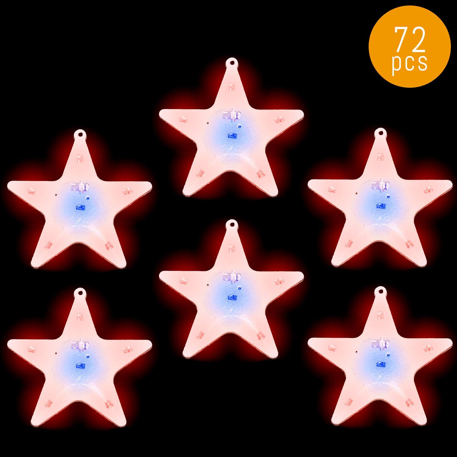 Lumistick LED Blinky Twinkle Star Magnet Pin | Ultra Bright Glowing Starry Brooch | Luminous Light Up Sparkling Badge Party Favors Accessory (72 Pins)