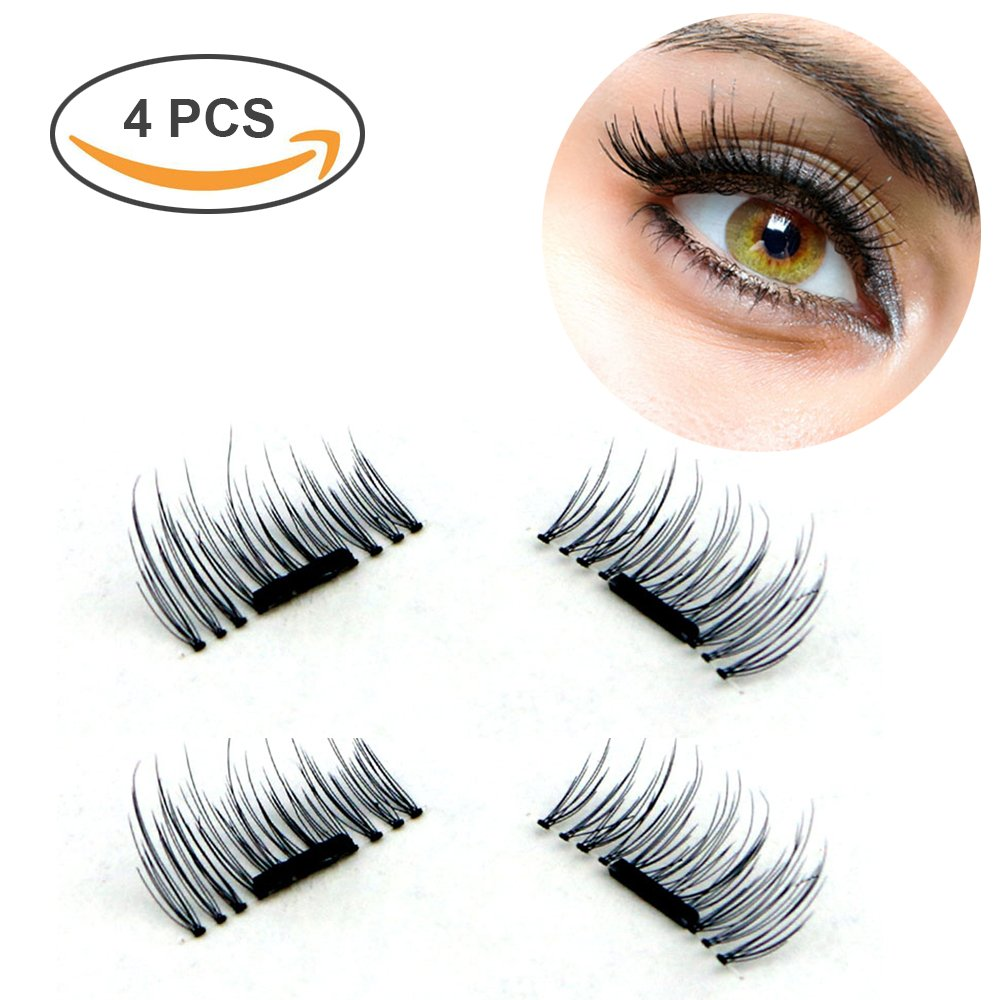 da5cf28f34b Amazon.com : Wisdompark New Magnetic Eyelashes Mink Material Eyelashes  Magnet 4 Pieces/Box 3D Mink Cilia Individual Eyelash Extension kit : Beauty