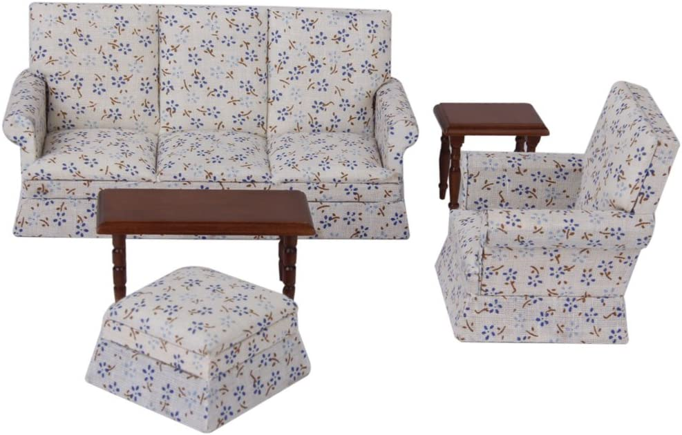 Flameer 1 12 Scale Dollhouse Cloth Sofa Wooden End Table Stool Chair Luxury Seat for Living Room Bedroom Decoration, Doll House Accessories and Furniture