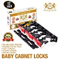 Cabinet Locks New 12 Pack safety first Child safety Baby proof Quick and Easy No Tools Drilling or Measuring Universal Invisible Design, drawer locks for Kids with 3M(RED)