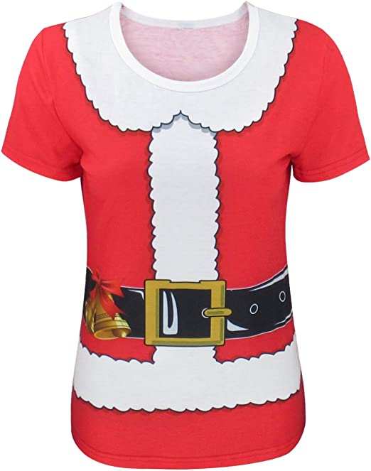 COSAVOROCK Disfraz de Papá Noel Elfo de Navidad Mujer Camiseta ...