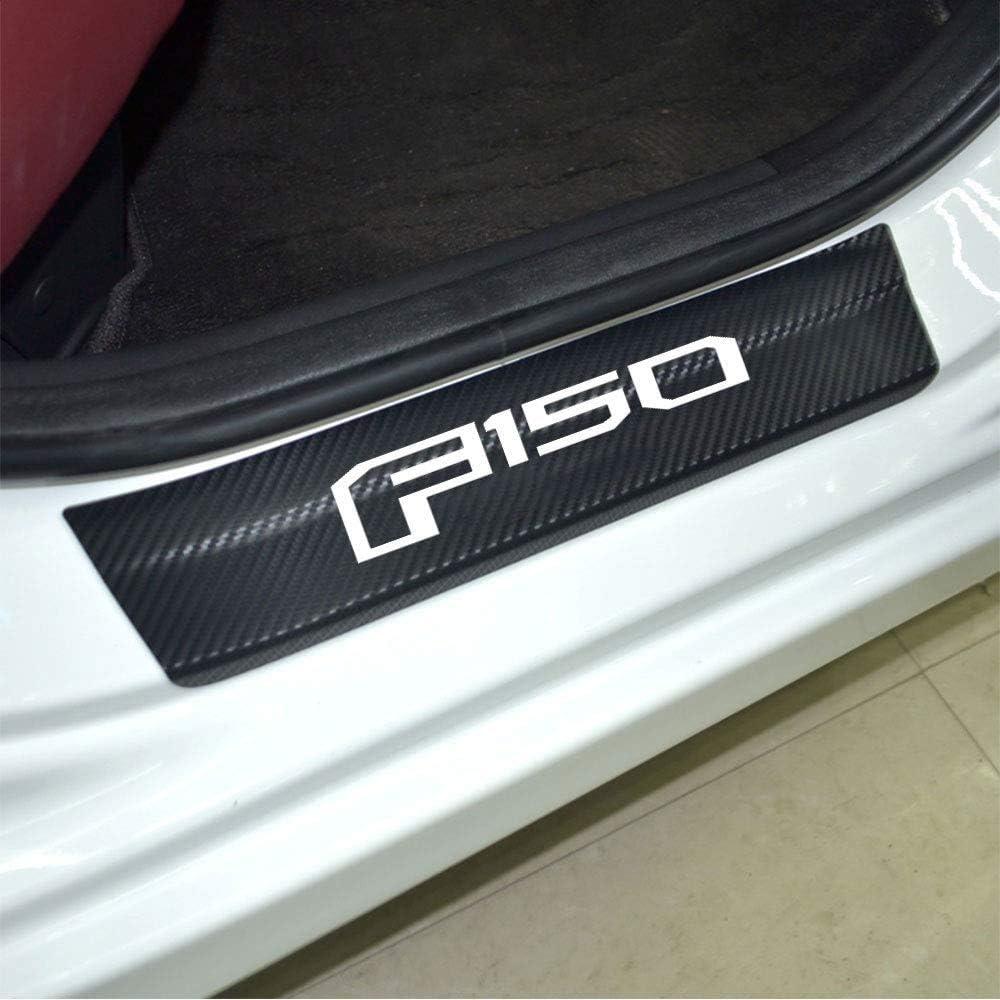 Blue Nobrand 4Pcs F-150 Decals Carbon Fibre Vinyl Reflective Car Door Sill Decoration Scuff Plate for Ford F-150 Car Accessories