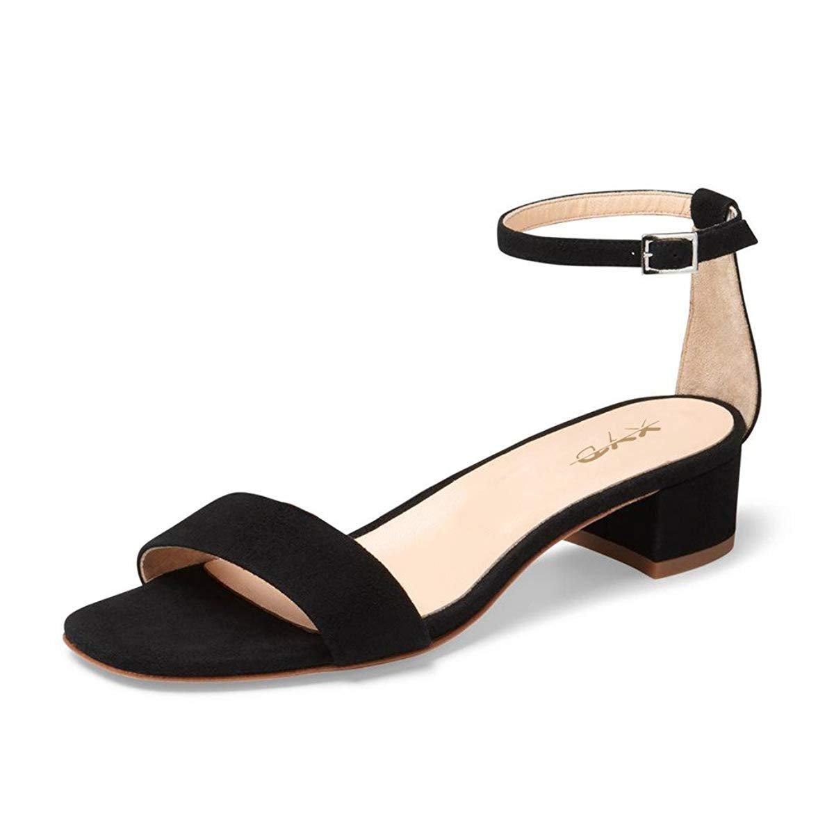 fe12ad19385 XYD Women Open Toe Strappy Low Block Heel Sandal Pumps Ankle Strap Wedding  Dress Shoes Size 9.5 Black