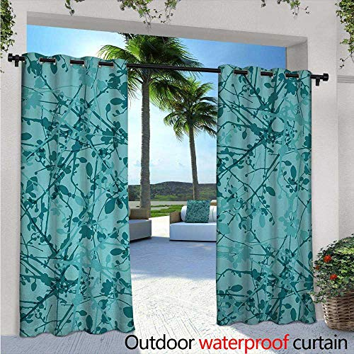 BlountDecor Teal Patio Curtains W72 x L96 Ink Drawing Inspired Intertwined Tree Branches Buds and Leaves in Abstract Design Outdoor Curtain for Patio,Outdoor Patio Curtains Teal Turquoise