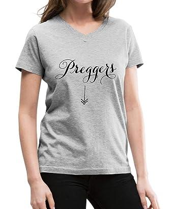 1d557776a Amazon.com: Spreadshirt Maternity Preggers Arrow Women's V-Neck T ...