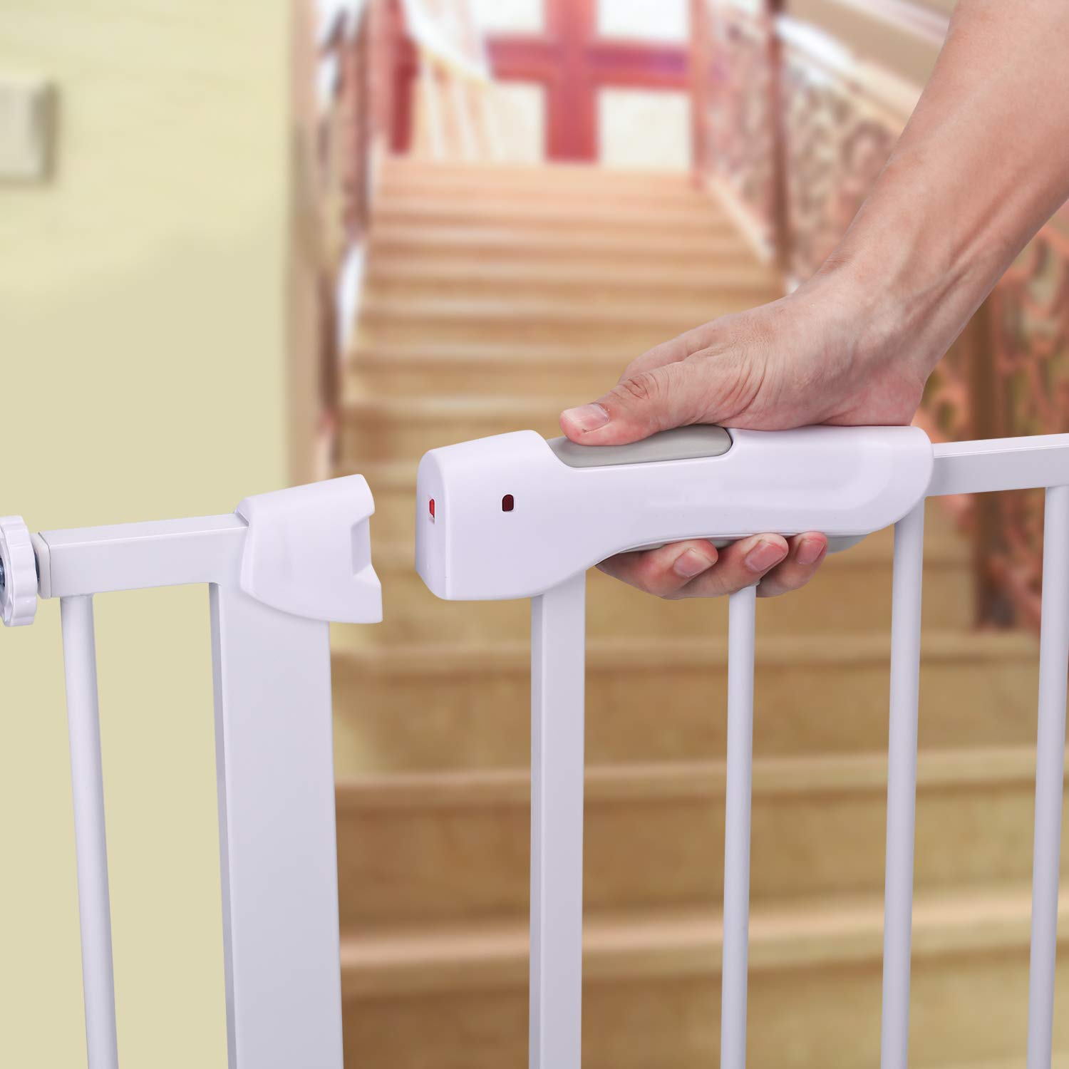 Extra Wide Tall Baby Gate – BabyElf Indoor Safety Adjustable Walk Thru Gate – Include Extension Kit and Wall Mounts White