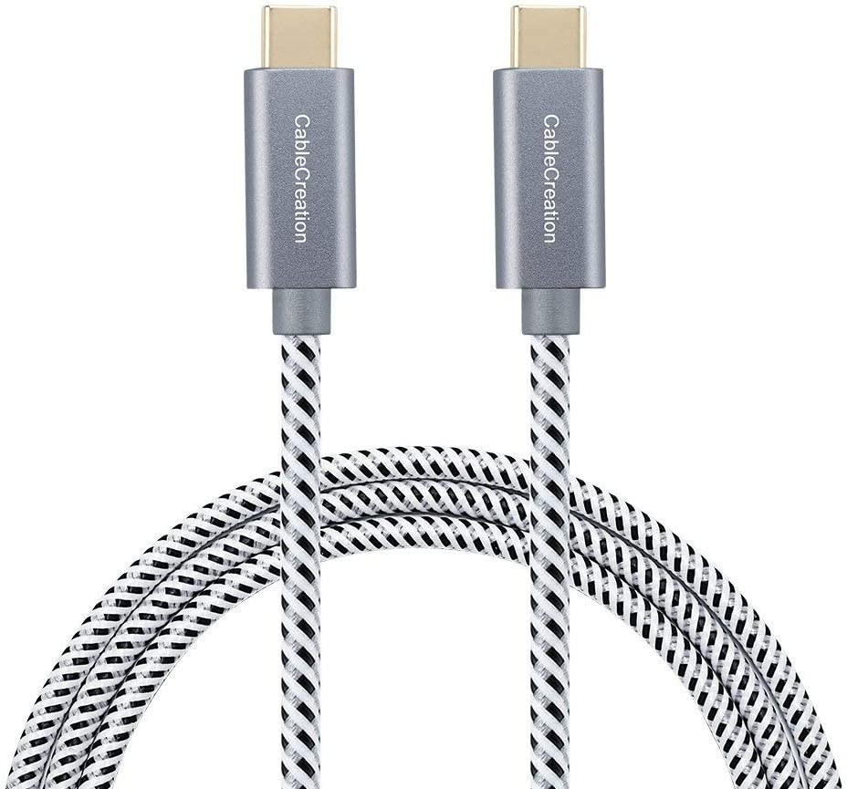 CableCreation Câble USB C, 3M Câble Tressé USB C vers USB C Compatible avec MacBook(Pro), ChromeBook Pixel. Huawer P20, Honor 8/9, OnePlus 6, LG G6, Nintendo Switch etc. Blanc & Noir