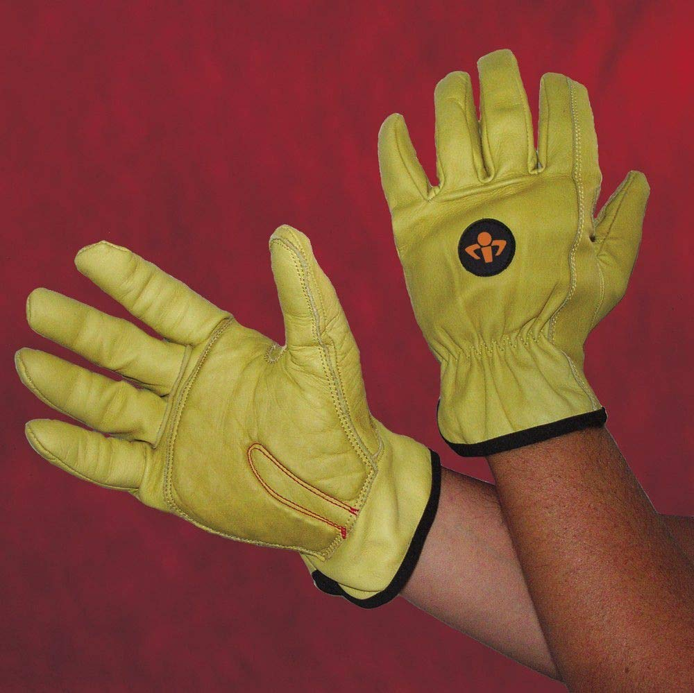 Impacto Anti-Vibration Carpal Tunnel Gloves, Leather Palm Material, Yellow, L, PR 1 - ST501040