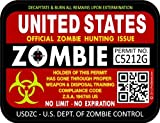 "ProSticker 1201 (Two Pack) 3""x 4"" Zombie Series ""United States"" Hunting License Permit Decal Sticker"