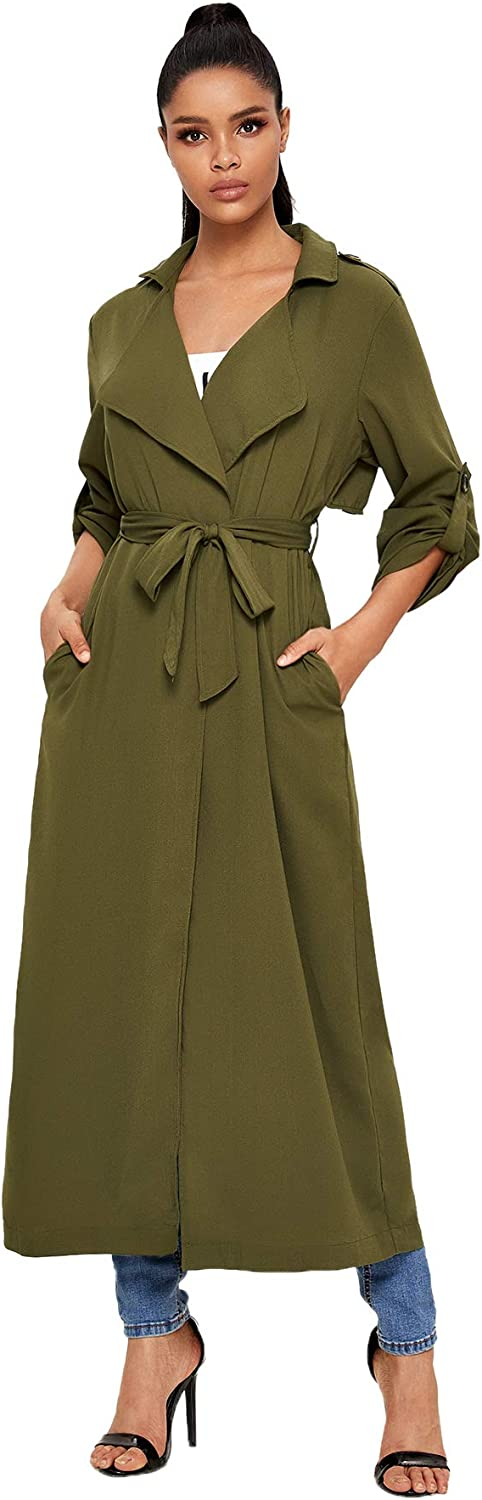Verdusa Womens Open Front Roll Up Sleeve Belted Long Trench Coat Outerwear