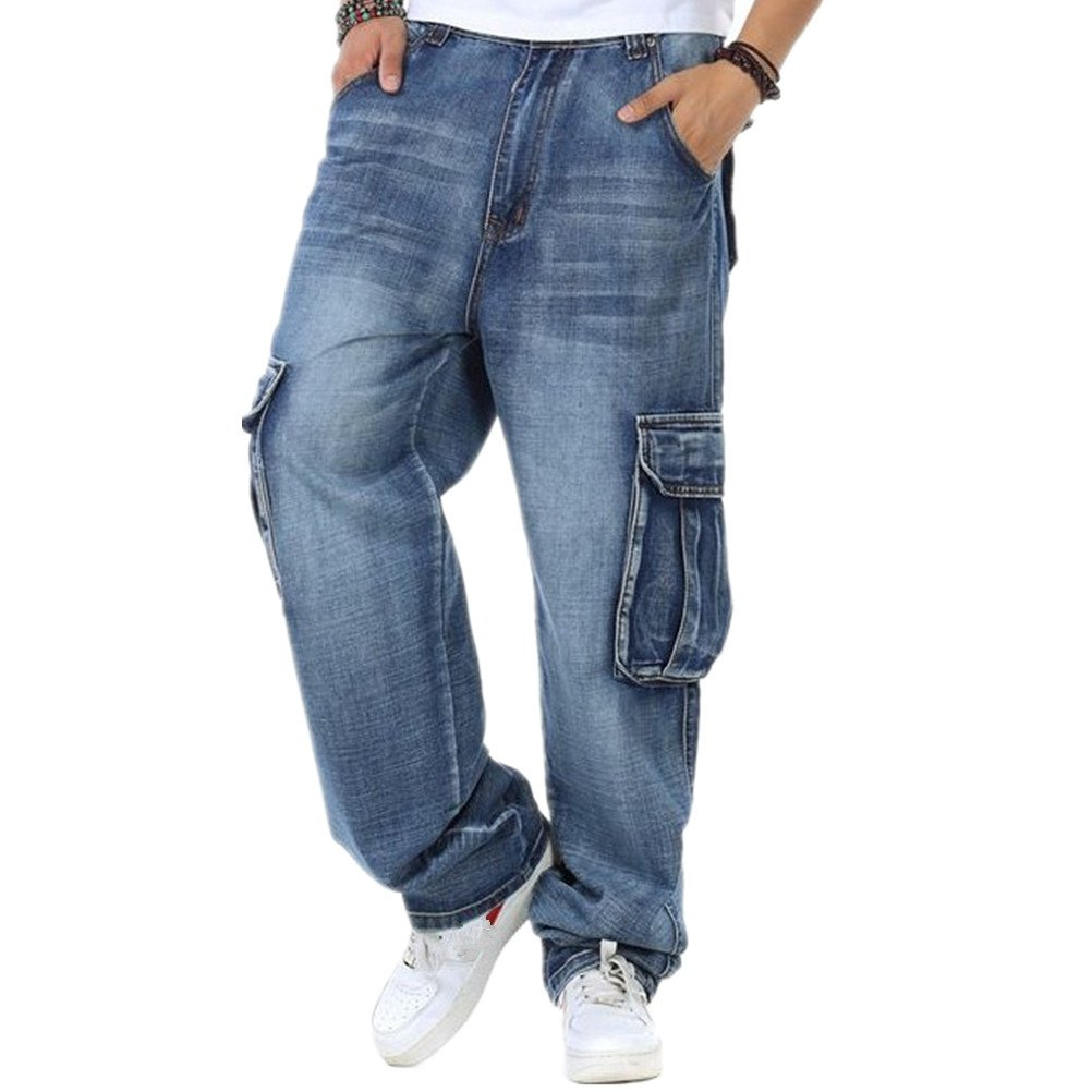 WoowTry Men's Multi-Style Nightclub Hip Hop Baggy Denim Jeans Blue5 40
