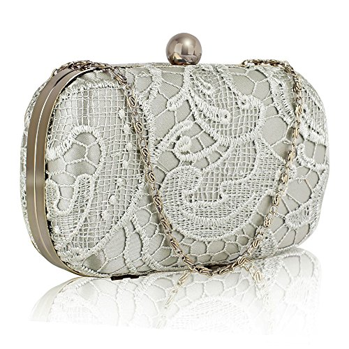 Clutch With Lace Design 1 Designer Ladies Handbag For Women Evening HardCase Chain New Box Silver Bag 55wPr1q