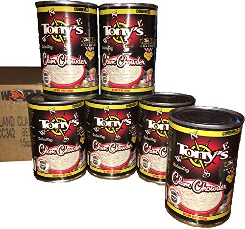 New England Clam Chowder - Tony's Clam Chowder, 3X World Champion, 15oz ounce (Pack of 6)