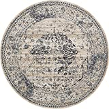 Unique Loom Chateau Collection Distressed Vintage Traditional Textured Dark Blue Round Rug (8′ x 8′) For Sale