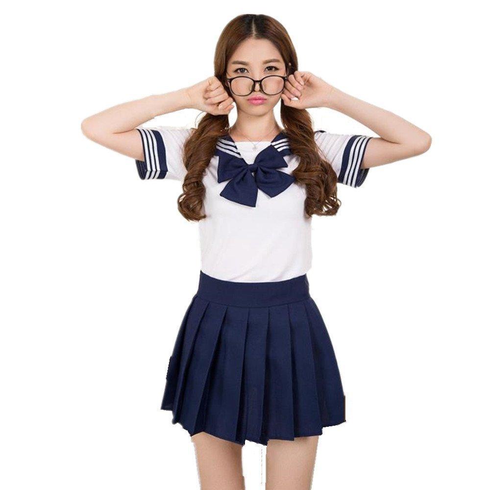 Lovely Japan School Uniform Students Uniform Set Sailor Suit Cosplay Costumes (Navy, S)