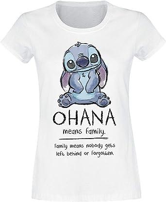 Lilo & Stitch Damas de Disney Camiseta Blanca de Algodón Familia Ohana Medios: Amazon.es: Ropa y accesorios