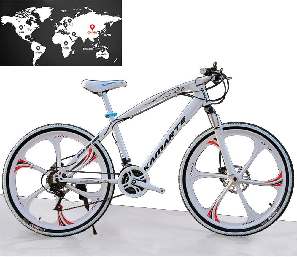 Llpeng Bicicleta de montaña for Hombres y Mujeres, de 26 Pulgadas 7/21/24/27 Velocidad, una de Las Ruedas, Doble Freno de Disco de la absorción de Choque, Bicicletas Estudiante, Blanco, 27