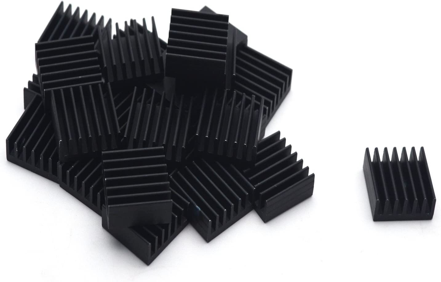 Antrader 24-Pack Aluminum Heatsink Heat Sink Cooling Fin 14mm x 14mm x 6mm, Black