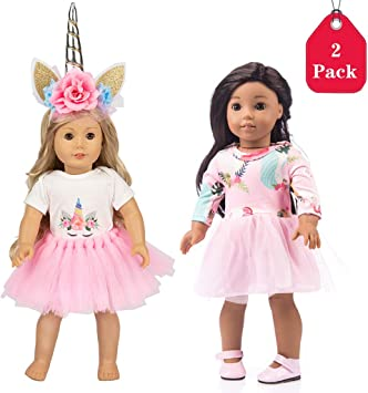 WENTS Doll Clothes and Accessories 3PCS Fashion Doll Clothes and Accessories with Unicorn Dress Doll Clothes Dress Change Show for 18 inch American Girl Doll