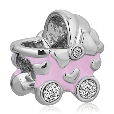 Carro de bebé encanto claro piedra baratas a la venta en forma de corazón de ajuste Pandora Chamilia encantos de la pulsera de los granos: Amazon.es: ...