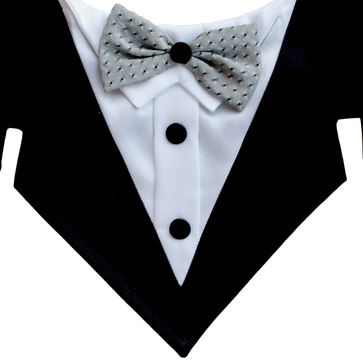 Dracula Formal Dog Bandana with Silver Bow Tie (Large)