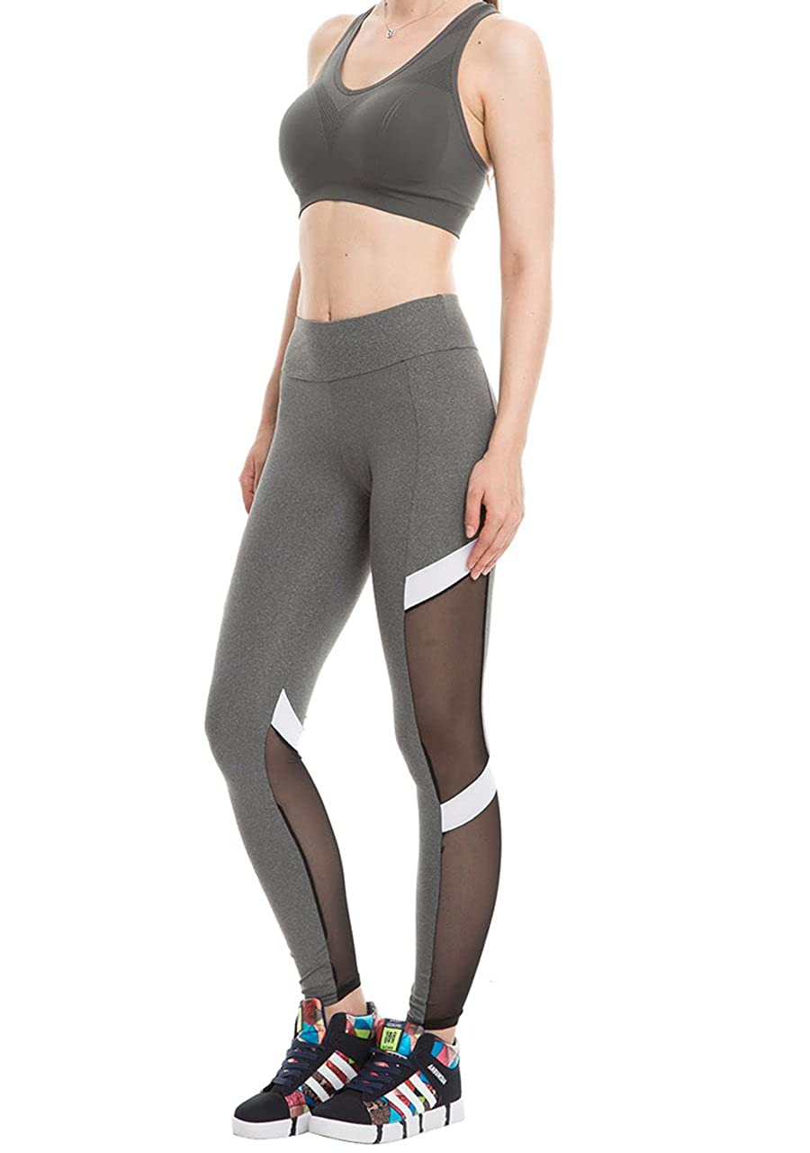 74ba540363 Ayliss Womens Yoga Fitness Mesh Patchwork Leggings High Waist Stretch Tight  Pant