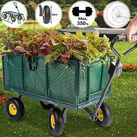 Deuba Carro para jardín Verde con ruedas carga máx de 550 kg carretilla de jardín con lona extraíble transporte fácil: Amazon.es: Amazon.es