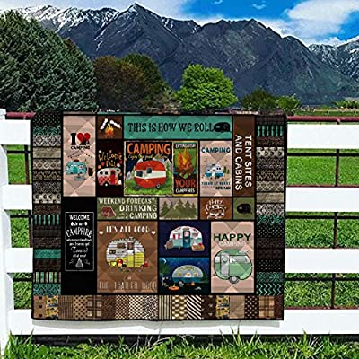 LIVIN' ILLUSION Camping Quilt Pattern Blanket Quilted Christmas Birthday Customized Little Kids Graduation Gifts All Season Warm Quilt Blanket for Bed Sofa (US Queen 80