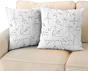 DuckBaby Pillowcase Printed Constellation Astronomic Theme Group Stars Names Classical Scientific Composition Soft and Breathable 20 inch Pillow Covers,2 Packs Charcoal Grey White