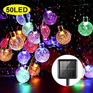 Upoom Solar String Lights Garden 50 LED 24Ft Outdoor String Lights Multi-Colored Waterproof Crystal Ball Fairy Lights, Decoration Lighting for Home, Garden, Patio, Yard, Christmas