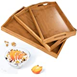 Serving Tray,Wood Serving Tray with Handles Boobam Serving Tray Set for Food,Breakfast,Dinner,Ottoman Coffee Table…