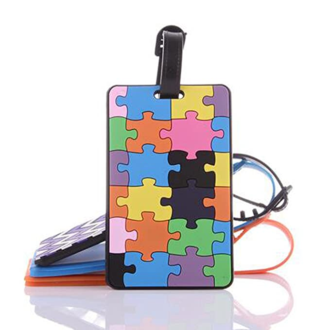 Wasongrew 5pcs Luggage Tags Tetris Pattern Rubber Id Tags With Strap