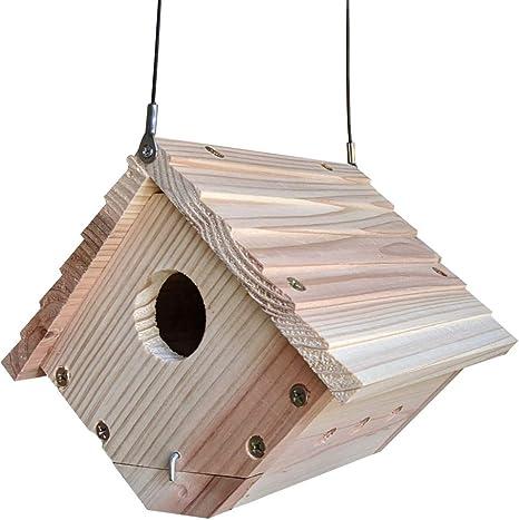 HERCHR Casa de Madera para p/ájaros para Exteriores Casita para p/ájaros Caja de nidos de p/ájaros Decoraci/ón Exterior de jard/ín con estantes de pie