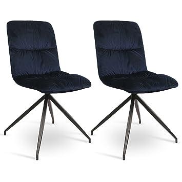 WOLTU® 2er Set Esszimmerstühle Küchenstühle Polsterstuhl Wohnzimmerstuhl,  Sitzfläche Aus SAMT, Metallgestelle, Modernes