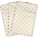 Seidenpapier, Geschenkpapier, Packpapier, Pünktchenmuster in Gold & Weiß, 50 Blatt (50x 76cm)