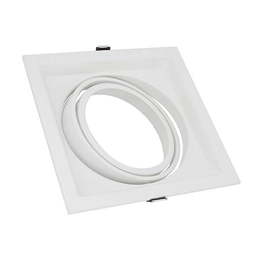 Aro Downlight Cuadrado Basculante para Bombilla LED AR111 Blanco efectoLED