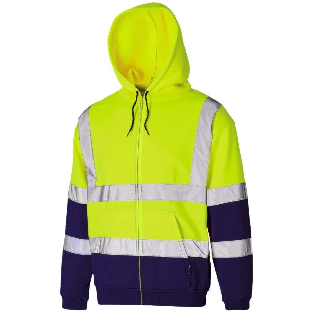 Hi Viz Vis High Visibility Jacket Hoodie Work Zip Hooded SweatShirt Reflective