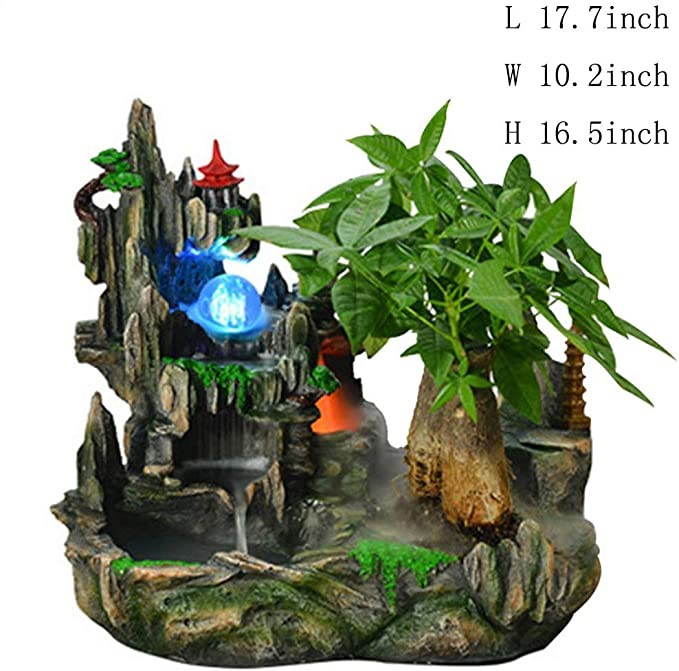 Amazon Com Tabletop Fountains Bonsai Resin Feng Shui Fountain Bonsai Waterscape Fountain Resin Fountain Resin Fountain 17 7inch Home Kitchen