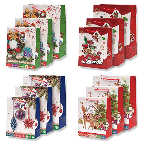 12 Pack Beautiful Glitter Pop Up Christmas Gift Bags in Assorted Designs & Sizes! 4 Designs in 3 sizes each- Small, Medium & Large by Gift Boutique