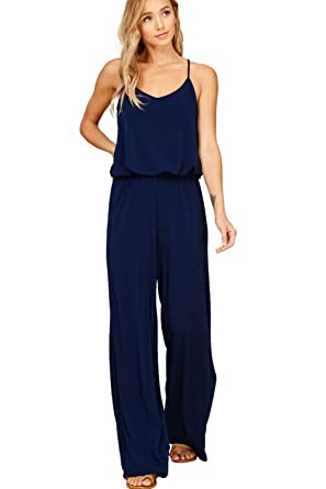 ceb9f4404bec Annabelle Women s Sleeveless Jumpsuit with Elastic Waist Racer Back V-Neck  and Side Pockets Navy