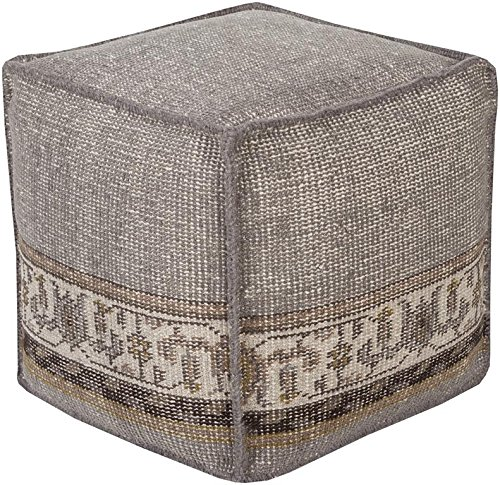 Surya ZHPF-002 100-Percent Wool Pouf, 18-Inch by 18-Inch by 18-Inch, Gray/Olive/Taupe/Light Gray/Black