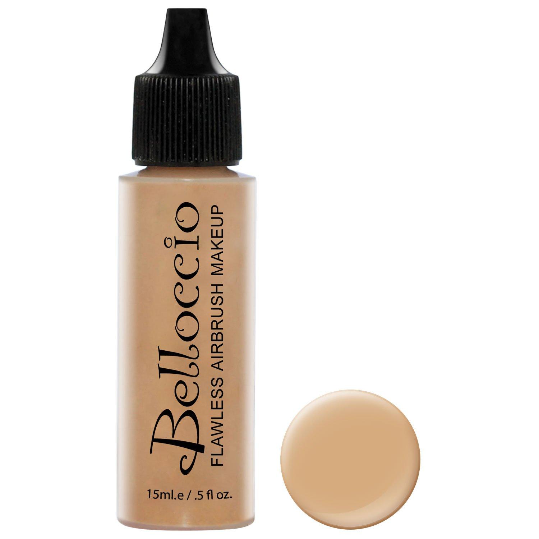Belloccio's Professional Cosmetic Airbrush Makeup Foundation 1/2oz Bottle: Honey Beige- Medium with Golden, Peachy Undertones
