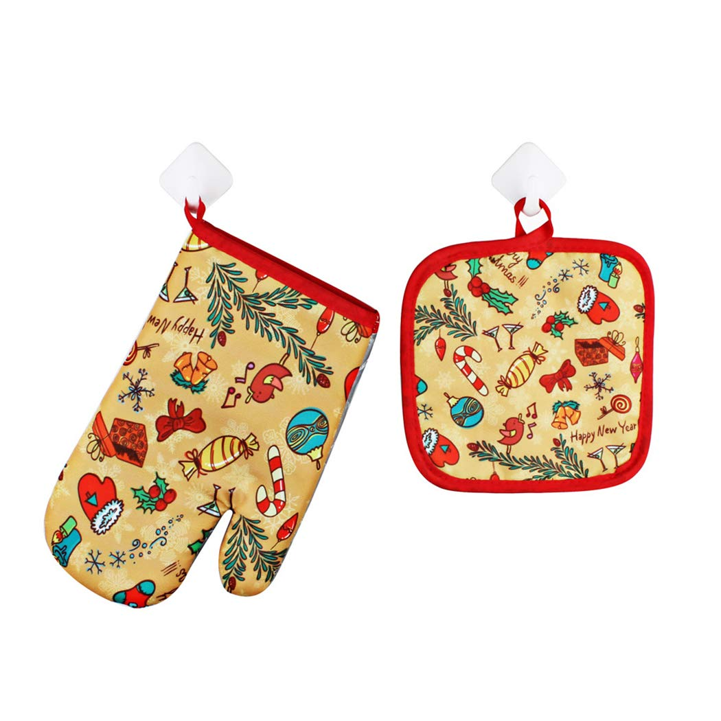 B bangcool Christmas Potholder Mitt Heat Resistant Oven Glove Oven Mitt with Insulation Pad Xmas Favors