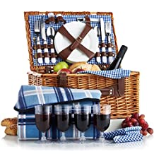 VonShef 4 Person Wicker Picnic Basket Hamper Set Flatware, Plates Wine Glasses Includes Blue Checked Pattern Lining Free Picnic Blanket