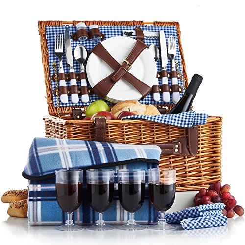 VonShef 4 Person Wicker Picnic Basket Hamper Set with Flatware, Plates and Wine Glasses Includes Blue Checked Pattern Lining and FREE Picnic Blanket (Picnic Wine Wicker Basket)
