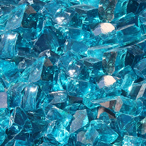 Blue Ridge Brand&Trade; Aqua Blue Reflective Fire Glass - 3-Ounce Sample Professional Grade Fire Pit Glass - 1/2 Reflective Glass for Fire Pit and Landscaping