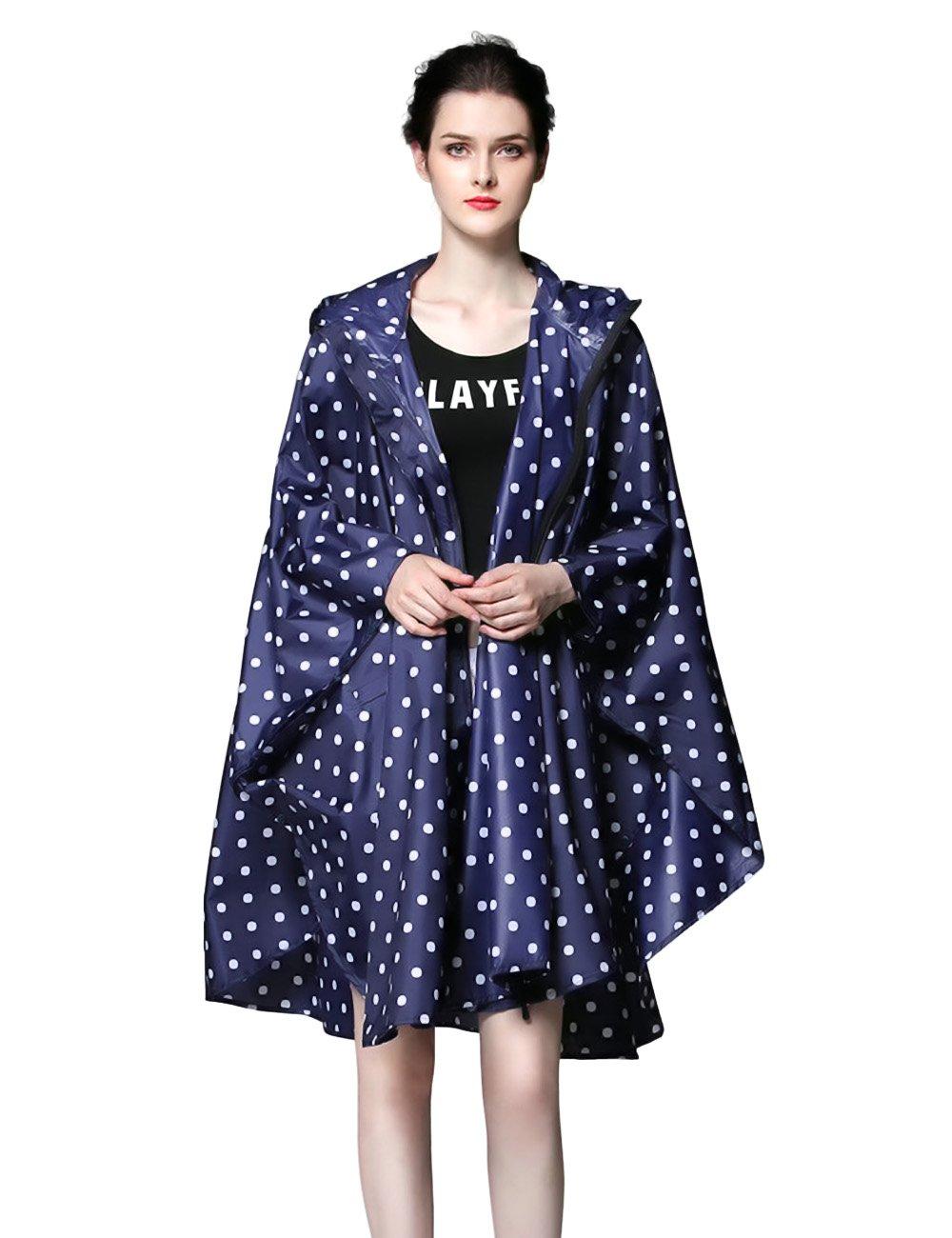 Walsilk Women's Travel Rain Poncho Batwing-Sleeved Hooded Raincoat,Waterproof Rain Jacket with Pockets,Showerproof Poncho Rain Coat Slicker for Emergency