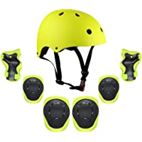 Lixada Kids 7 in 1 Helmet and Pads Set Adjustable Kids Knee Pads Elbow Pads Wrist Guards for Scooter Skateboard Roller…